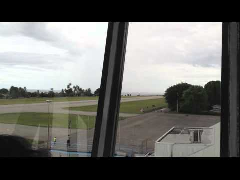 Our Airline VH-NLK Landing at Nauru, from Control Tower