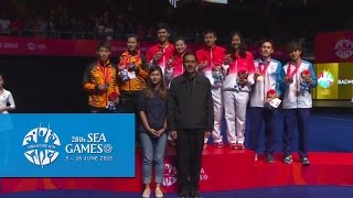 Badminton Mixed Doubles Gold Medal Match Victory Ceremony | 28th SEA Games Singapore 2015