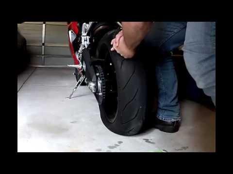 Motorcycle flat tyre repair on tubeless tyre