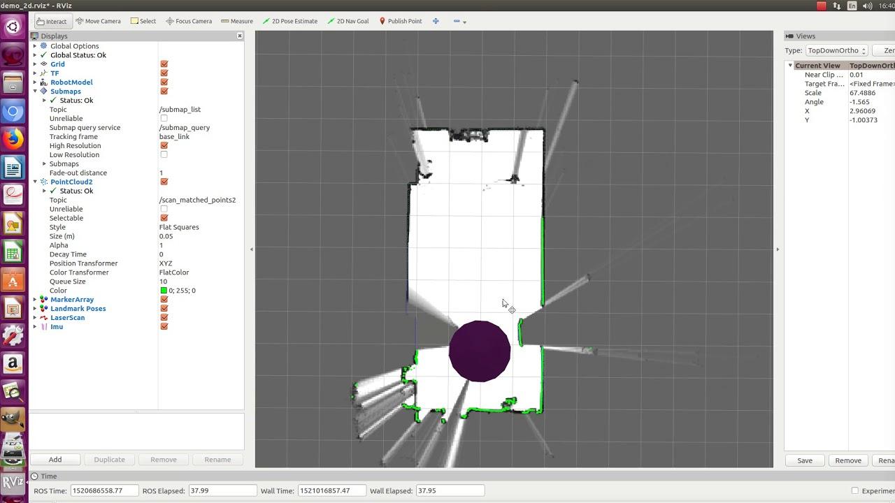 Google Cartographer 2D SLAM With Sick Tim LIDAR and Xsens IMU