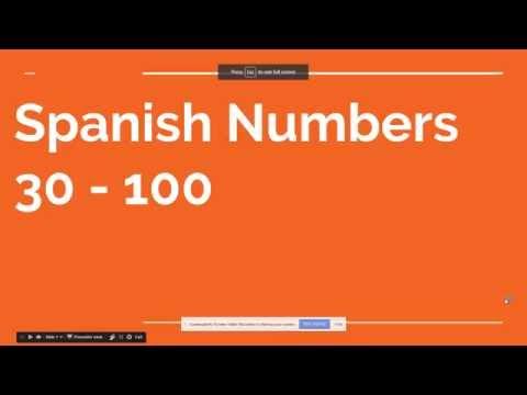Spanish Numbers 30 - 100