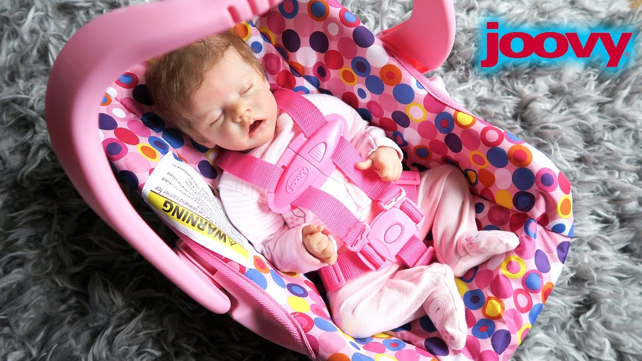 Pink Joovy Toy Car Seat Unboxing With Reborn Baby Doll