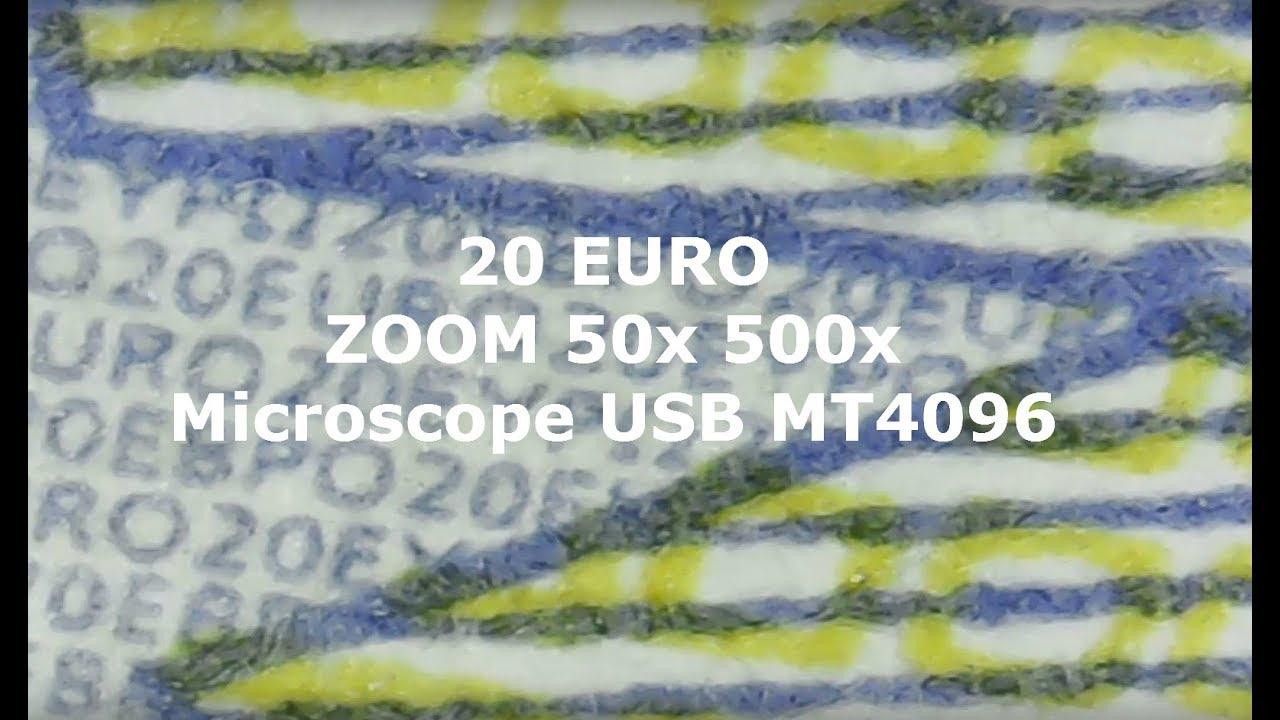 Jak wygląda banknot 20 Euro w przybliżeniu 50x zoom ? Microscope USB MT4096