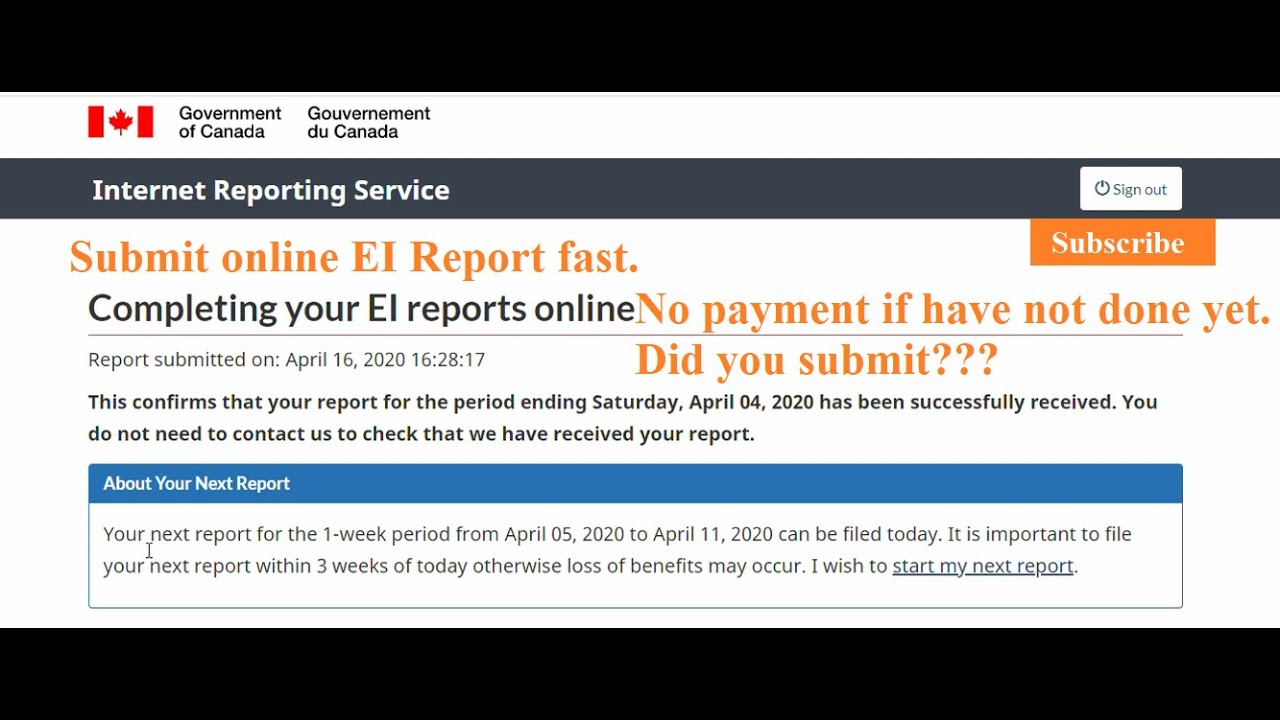 How To Submit Ei Report Online Why You Did Not Receive Employment Insurance Ei Payment Covid 19 Youtube