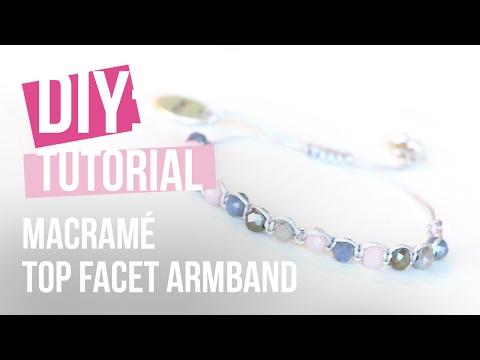 Sieraden maken: Armband met macramé en top facet ♡ DIY