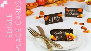 DIY Toothpick Engraved Edible Chocolate Bar Thanksgiving Place Cards // Lindsay Ann Bakes
