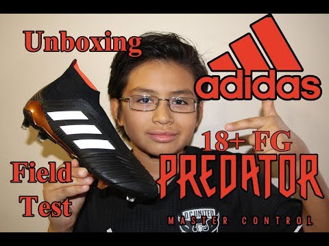 Unboxing adidas Predator 18+ FG Soccer Cleat plus field test- Black/White/Solar Red