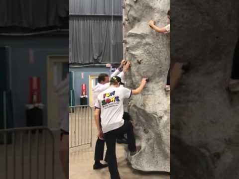 Judge Alex Climbs a Rock Wall