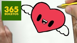 COMO DIBUJAR CORAZON KAWAII PASO A PASO - Dibujos kawaii faciles - How to draw a heart