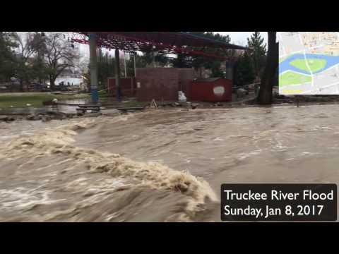 Truckee River Flooding In Reno, Nevada, Jan 8, 2017