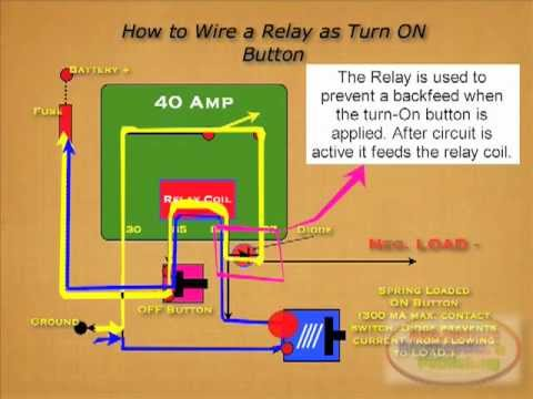 5 Wire Headlight Relay Wiring Diagram Turn On Relay Button Diode Youtube