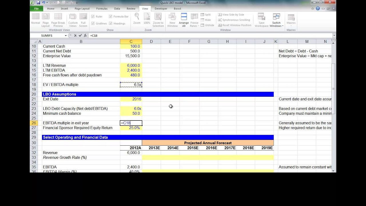 simple lbo model template - financial modeling quick lesson simple lbo model 1 of 3