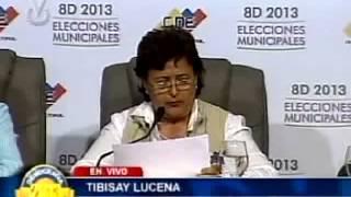 Tibisay Lucena ofrece resultados de las Elecciones Municipales 2013