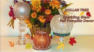 Dollar Tree Fall Glass Pumpkins Glam Home Decor #pumpkindecor #falldecor2019 #dollartreepumpkins