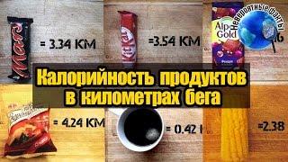 Калорийность продуктов в километрах бега - Calorie products in kilometers run