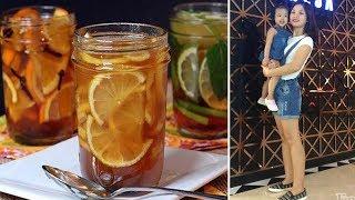 Drink honey lemon honey, one mother drops 26kg fast, regain the dream girl's body