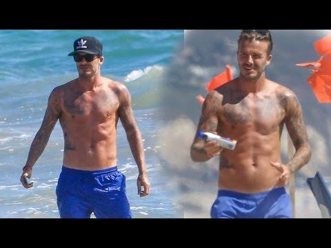 David Beckham Shirtless #1 (2014) - in Malibu, California