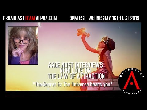 BTA Wednesday10-16-19 Nori Love on Law of Attraction 5pm PDT 8pm EDT