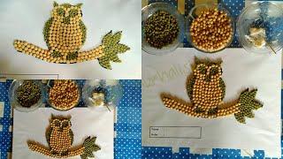 Cara mudah membuat kolase burung hantu dari bahan alam bijian - bijian (kacang hijau & kedelai)