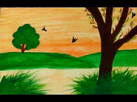 Easy watercolor sunset painting for beginners