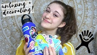 How to Decorate Your Hydro Flask + Sticker Unboxing! || Haley Rose