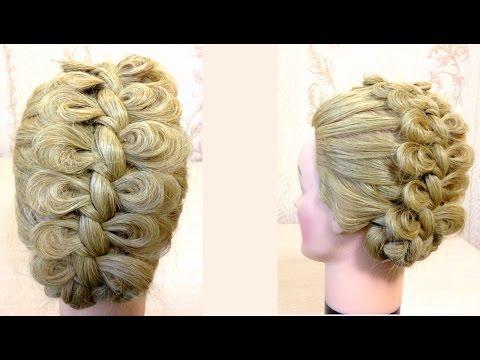 Прическа коса из бантиков.Braided updo