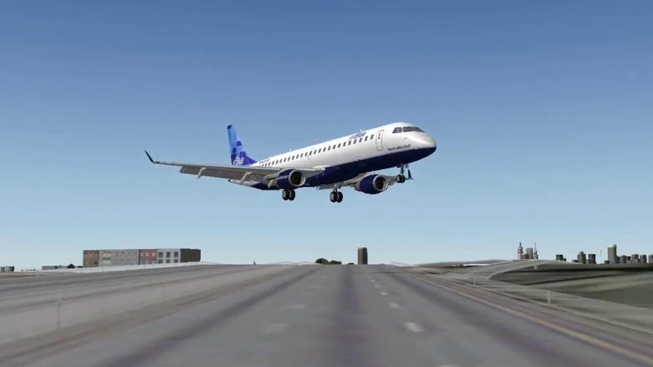 [X-Plane 9] Jetblue E190 Landing at LaGuardia Airport