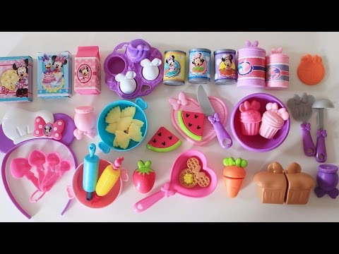 Minnie Mouse bowtastic kitchen accessory set velcro cutting fruit vegetables bread waffle toy eggs