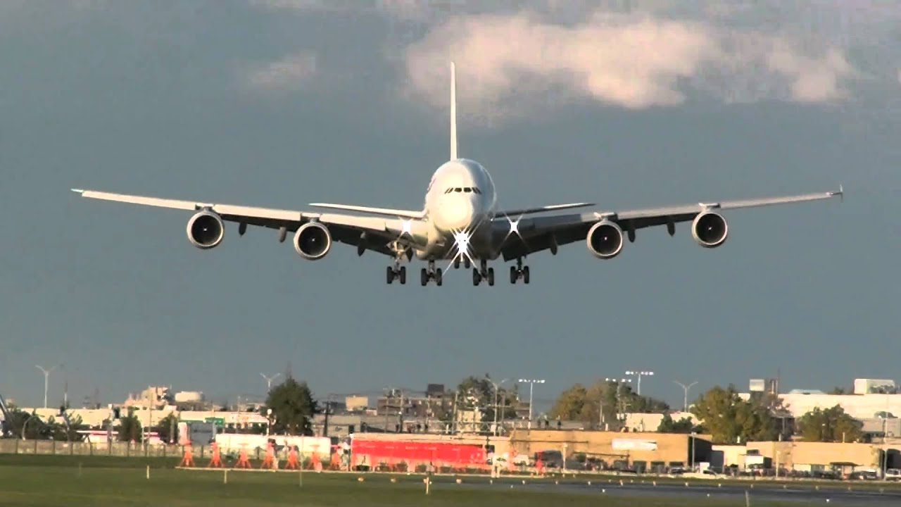 Air France A380 landing on 24R at YUL - YouTube