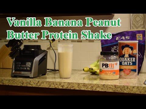 Vanilla Banana Peanut Butter Protein Shake (45.5 gm Protein, 535 calories)