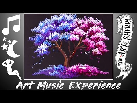 Q-tip Pink And Purple Tree Acrylic Technique Beginners Art And Music  Therapy
