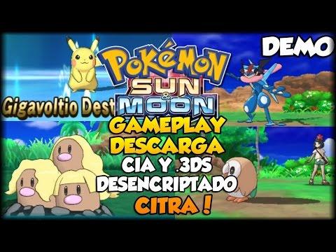 Pokemon Sun & Moon Demo Descarga CIA Y ROM -  Gameplay Citra - Dugtrio Alola - Greninja Ash y mas