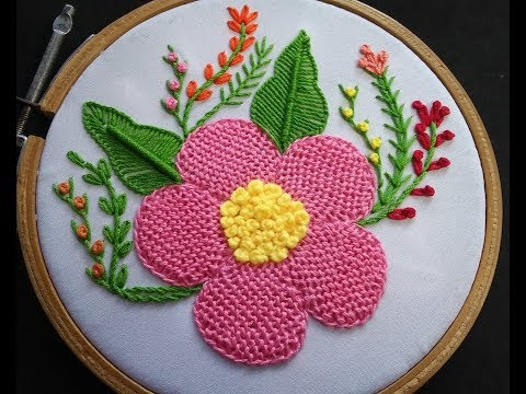 Hand Embroidery - Trellis Stitch Embroidery Part 2