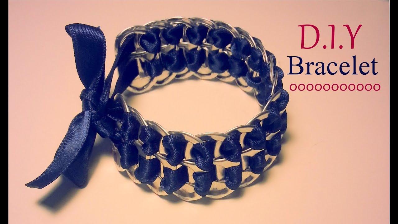 Cr ation d i y le bracelet capsules de canettes et ruban youtube - Comment faire les bracelet elastique ...