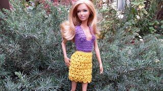 Урок вязания ажурной юбки для Барби. Мастер-класс.