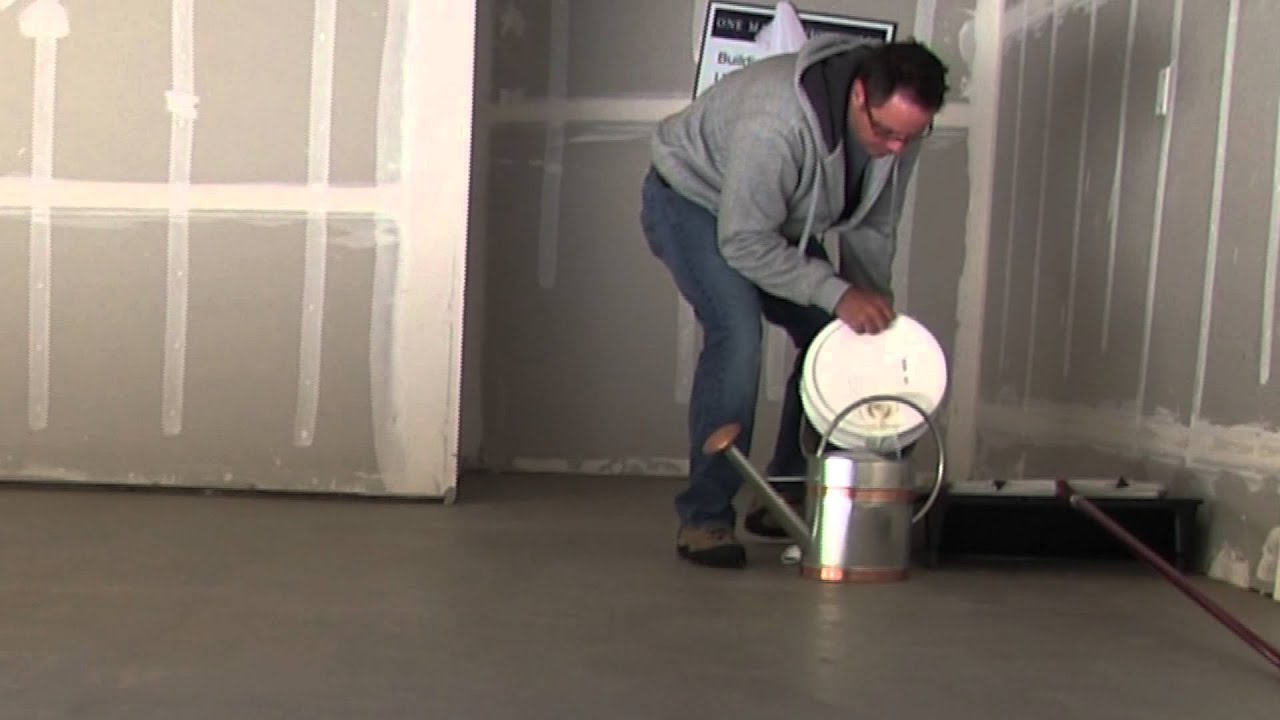 How To Seal Or Glaze Concrete Garage Floor Using Behr Wet Look Sealer Hi  Gloss   YouTube
