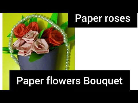 How to make  beautiful paper roses bouquet, easy paper roses,diy, paper flowers  bouquet