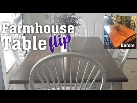 Farmhouse Table Flip Using Chalk Paint How I Gave An Outdated Dining Table A Fresh Farmhouse Look Youtube