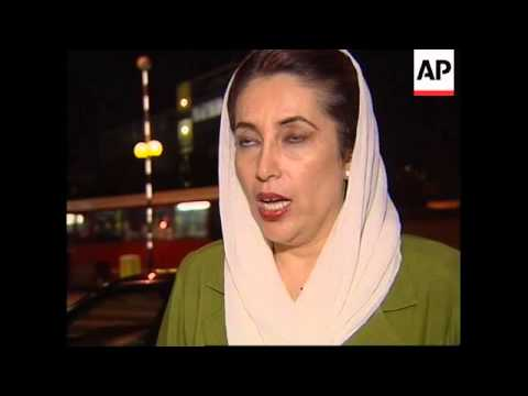 UK: BENAZIR BHUTTO COMMENTS ON PAKISTAN ARMY COUP (2)