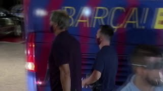 Barcelona fans BOO their players as they come off the team bus after 8-2 defeat
