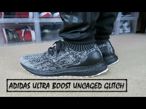 4104aed072138 ADIDAS ULTRA BOOST UNCAGED BLACK WHITE ON FEET - YouTube