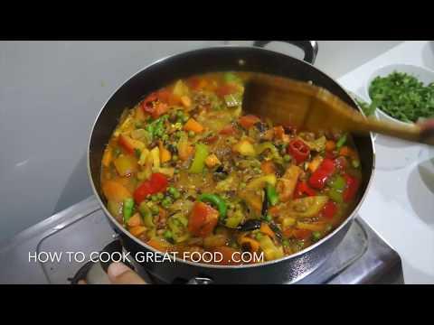 Black Eyed Peas & Vegetable Curry Recipe - Indian Vegan Veggy Lobia