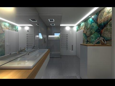 Badezimmer Design mit Dachschräge Wandtapete Glamora als fugenloses Baddesign