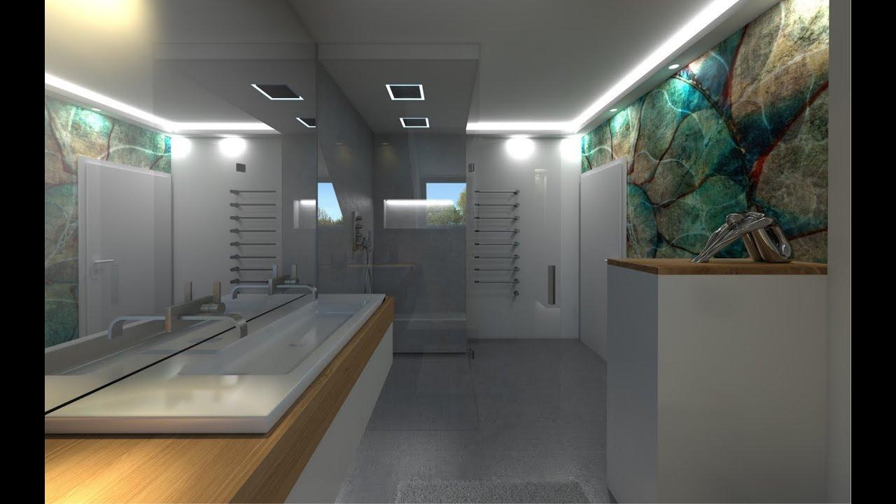 Badezimmer Design mit Dachschrge Wandtapete Glamora als