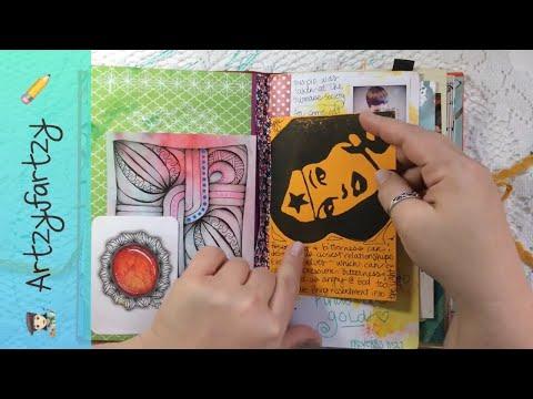 Art Journal Flip 📓 Lots Of Zentangles & Drawing ✍️ Artzyfartzy
