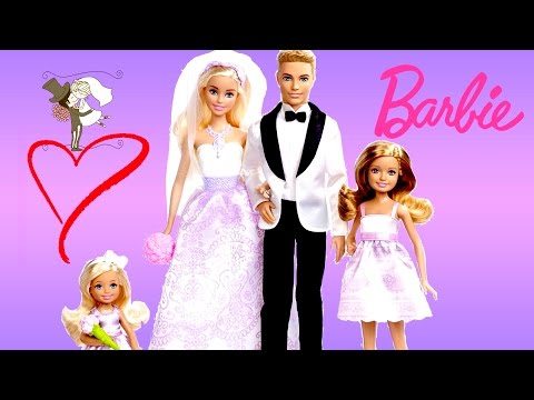 Thumbnail: Barbie Wedding Gift Set Barbie Life In the Dreamhouse Bride Groom Bridesmaid Dolls