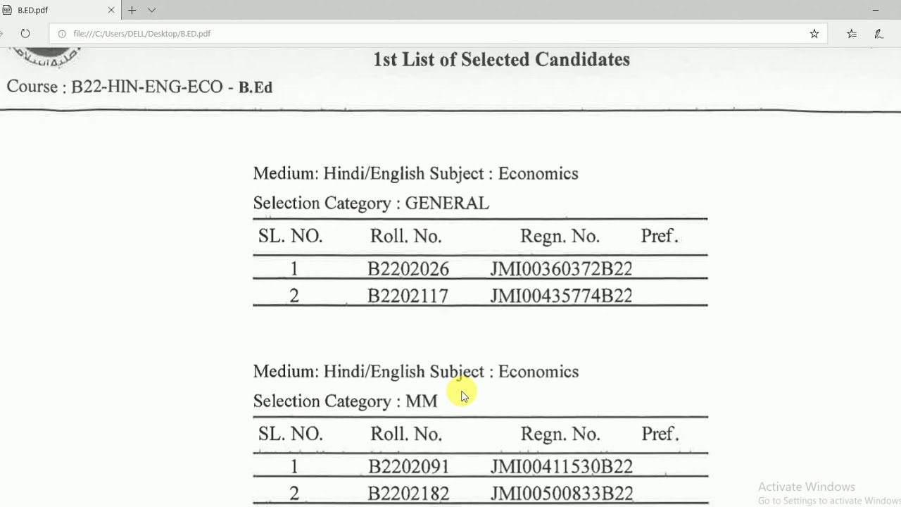 RESULT OF JMI B ED 1ST SELECTED LIST (ALL SUBJECTS) 2019-20