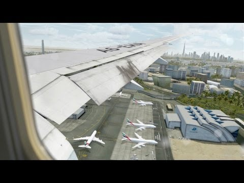 FSX HD - Flight Simulator X- Hot&Busy at Dubai, Emirates 777 Landing -CaptainSim 777-FlyTampa Dubai