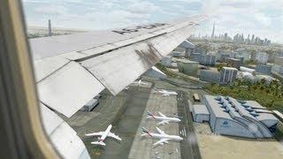 FSX HD - Flight Simulator X- Hot&Busy at Dubai, Emirates 777 Landing -CaptainSim 777-FlyTampa Dubai