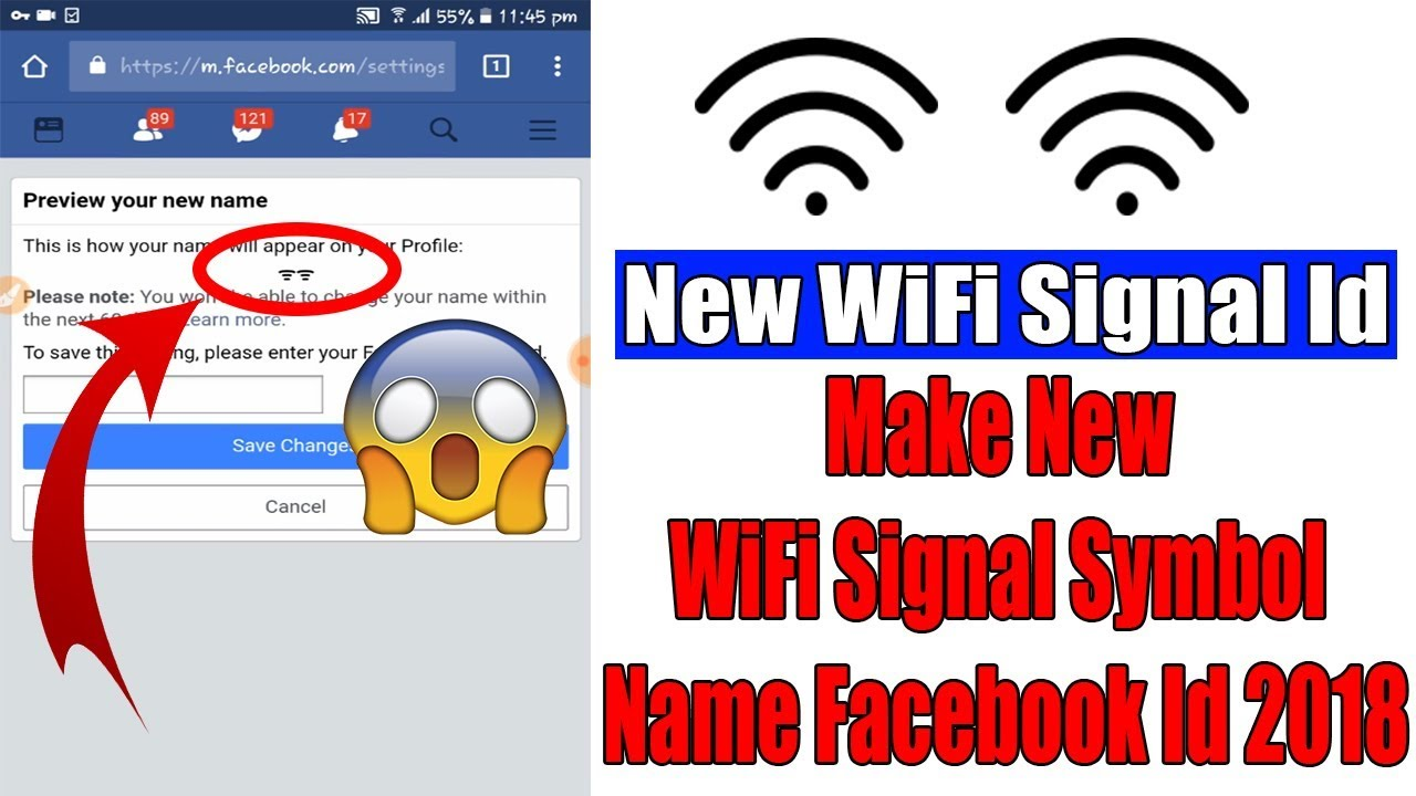 How To Make New Wifi Signal Symbol Name Facebook Id 2018 Youtube You can now download for free this wifi symbol transparent png image. wifi signal symbol name facebook id